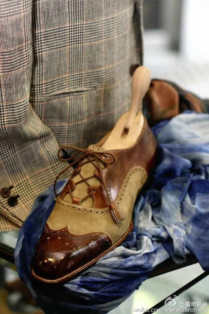 以苏格兰Ghilles shoes为灵感的suede拼calf组合