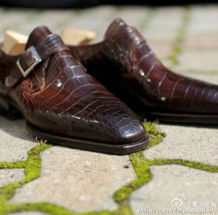 鳄鱼皮单扣孟克鞋